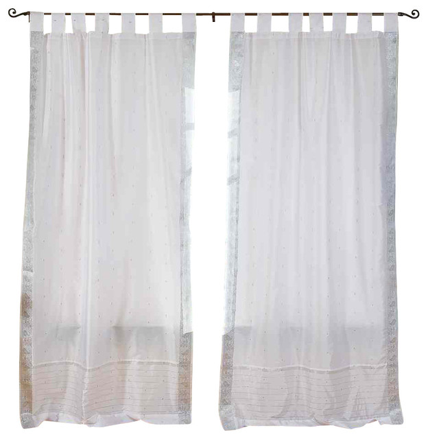Pair of white silver tab top sheer sari cafe curtains 43 x 24 in