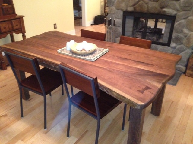 Natural Edge Walnut Slab Dining Table Contemporary