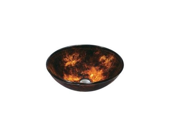 "Asian Style Bathroom - Vigo VG07004 16.5"" Diameter Countertop Bath Sink: Brown and Gold Finish"