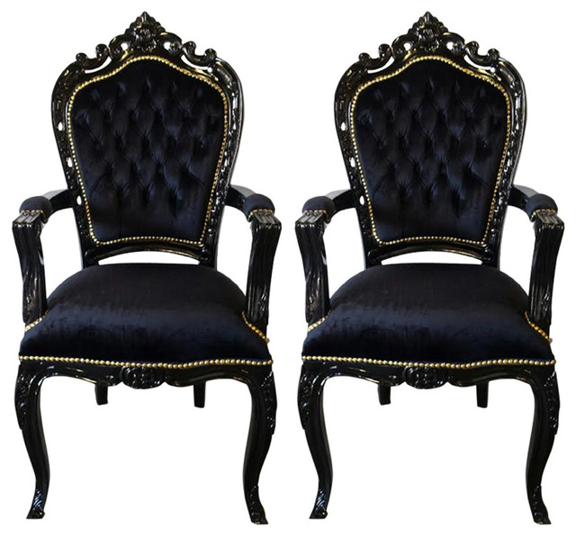 Pair of french louis xv style black armchairs victorian