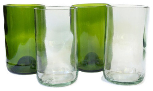 Bukoto Upcycled Glassware, 1 Glass, Clear craftsman-everyday-glasses