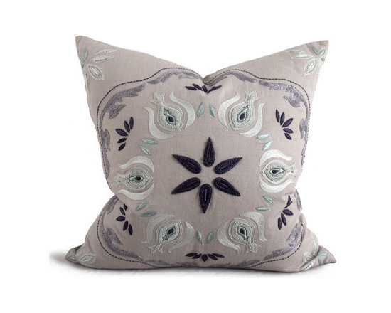 Kathy Kuo Home - Paxton Coastal Beach Mint Natural Square Pillow - Hand embroidered pillows in linen and silk are sumptuously oversized and generously filled with down and feathers - tossed on a bed or a gathered on a sofa, create a lasting personal touch.