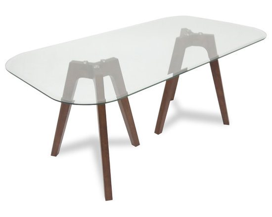 Bryght - Gibson Glass Dining Table - This glass trestle dining table is sure to enhance the sense of light and space in a dining room. Its dual tripod legs provide ample leg space without foregoing its artsy unconventional look.The Gibson dining table's smooth curved glass-top edges add to its exclusivity.