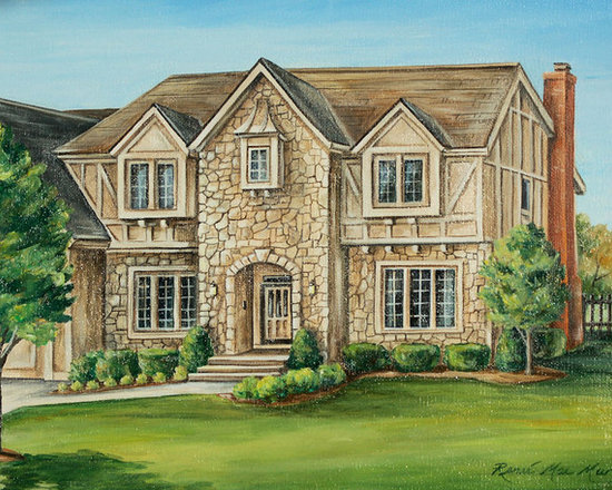 Architectural House Portraits - Hand painted house portrait painted in oil be artist Renee MacMurray