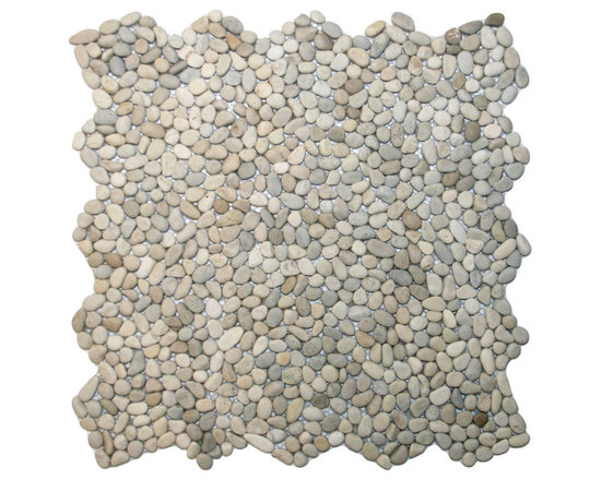 """CNK Tile - Mini Java Tan Pebble Tile - Each pebble is carefully selected and hand-sorted according to color, size and shape in order to ensure the highest quality pebble tile available.  The stones are attached to a sturdy mesh backing using non-toxic, environmentally safe glue.  Because of the unique pattern in which our tile is created they fit together seamlessly when installed so you can't tell where one tile ends and the next begins!     Usage:    Shower floor, bathroom floor, general flooring, backsplashes, swimming pools, patios, fireplaces and more.  Interior & exterior. Commercial & residential.     Details:    Sheet Backing: Mesh   Sheet Dimensions: 12"""" x 12""""   Pebble size: Approx 1/4"""" to 1/2""""   Thickness: Approx 1/4""""   Finish: Tan Natural"""