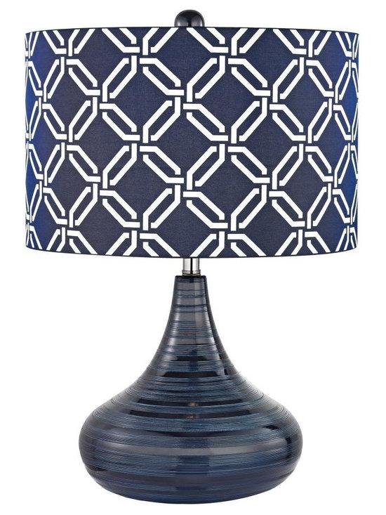 Dimond - One Light Navy Blue Blue With White Pattern Print, Silken Fabric Shade - One Light Navy Blue Blue With White Pattern Print, Silken Fabric Shade