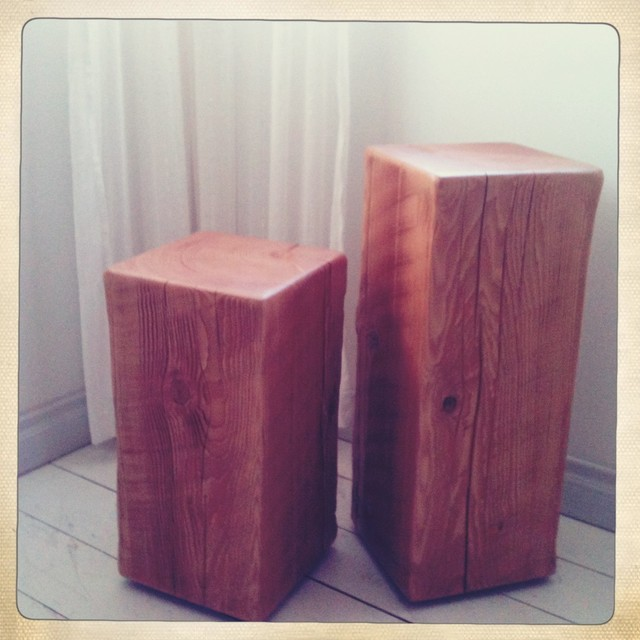Block Wood Side Table ~ Wood block end tables modern side and