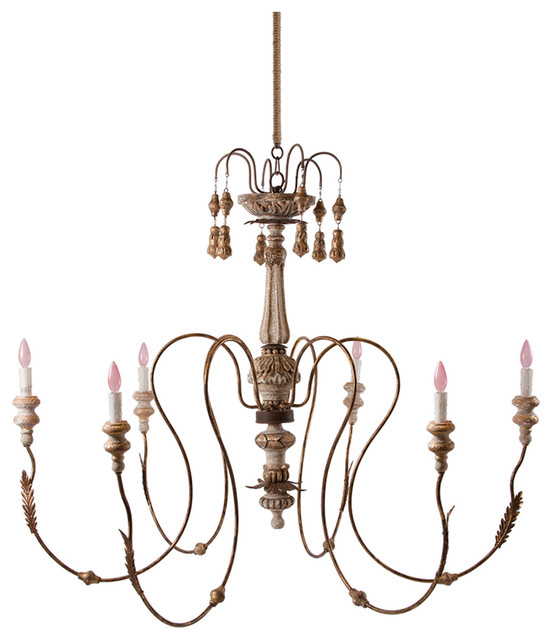 Grace 6 Light Curled Iron Tiered French Country Chandelier