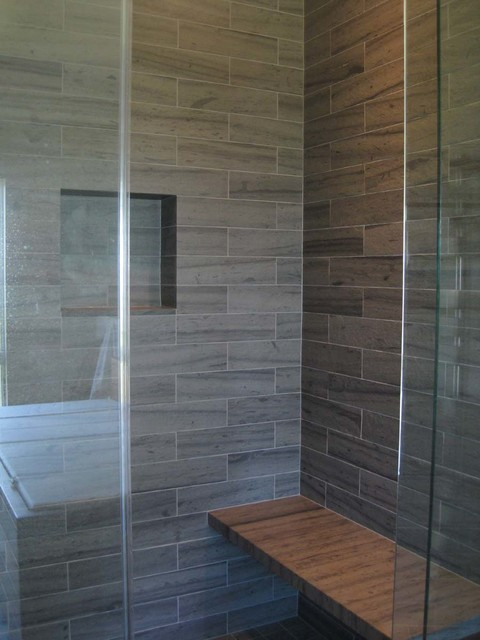 Slate shower surround bench tile other metro by for Slate tile bathroom ideas