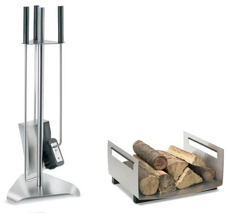 Chimo 3 Piece Stainless Steel Fireplace Tool Set modern-fireplace-accessories