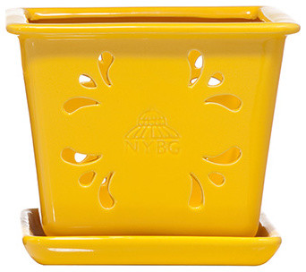 Large Square Glazed Pot traditional-outdoor-planters