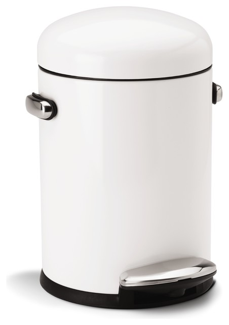 white steel step can modern trash cans by simplehuman. Black Bedroom Furniture Sets. Home Design Ideas