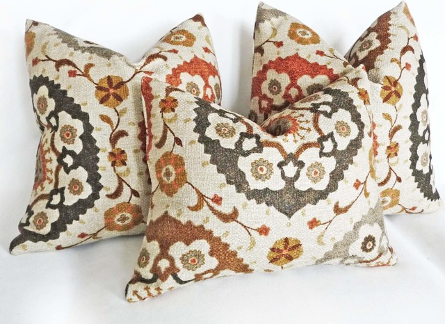Eclectic Couch Pillows : Spice Suzani Throw Pillow - Eclectic - Decorative Pillows - vancouver - by PillowThrowDecor