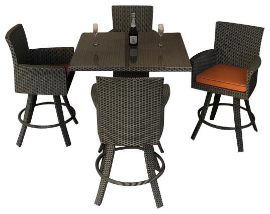 Hampton 5 Piece Modern Outdoor Bar Set Chocolate Wicker And Rust Cushions