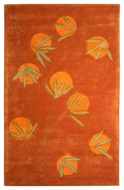 Rust and Orange Modern Wool Rug (2 ft. 6 in. x 12 ft. Runner.) contemporary-rugs
