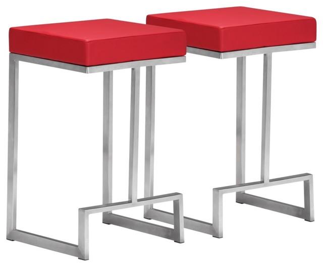 Zuo Modern Darwen Red 24  High Counter Stool contemporary bar stools
