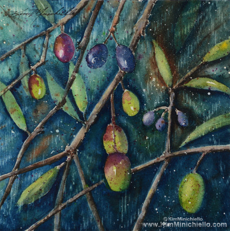"Tuscan Olives, Watercolor on Archival Paper, 8"" x 8"" SOLD mediterranean-artwork"