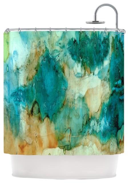 Rosie Brown Waterfall Teal Blue Shower Curtain Modern Shower
