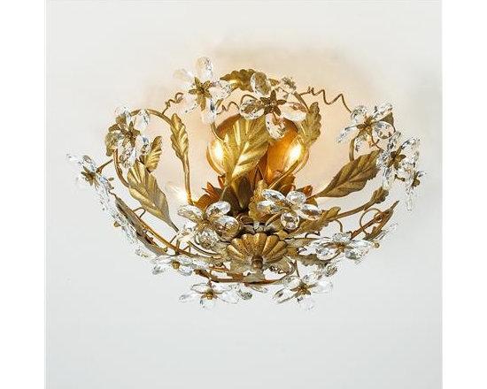 Crystal Flowers Ceiling Light, Gold Leaf -