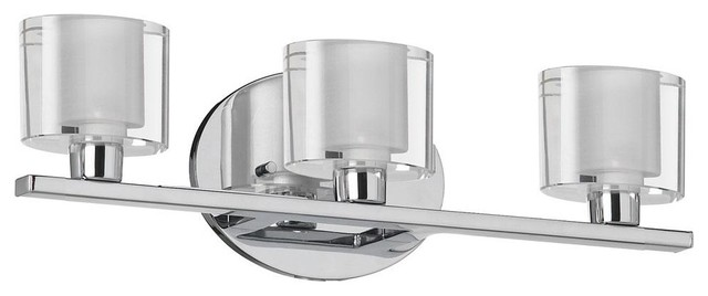 "3-Light 16"" Polished Chrome Bathroom Vanity Fixture with Clear/Frosted Oval Glas contemporary-bathroom-lighting-and-vanity-lighting"