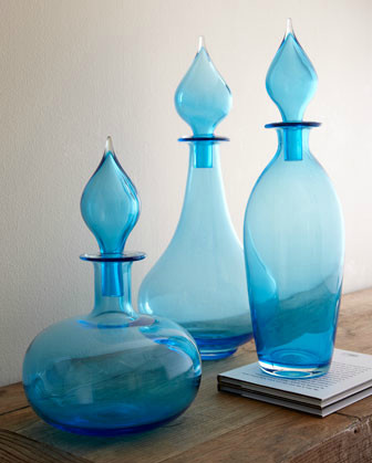 Three Glass Bottles with Stoppers eclectic-home-decor