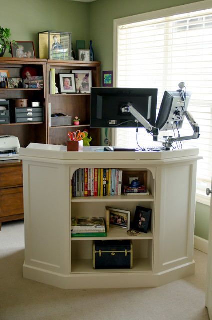 Home Office with Standing Desk - Traditional - portland