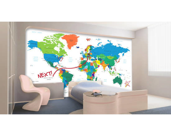 Writable wall decals - Get ready to have fun with our whiteboard world map wall decal! This colorful world map contains all countries' names printed and also a whiteboard finish. That means you can write with standard dry erase markers and erase as many times as you'd like. A great solution to jazz up kid's spaces, a living room or a shared break space at a corporate environment. Custom sized. Starts at $45.