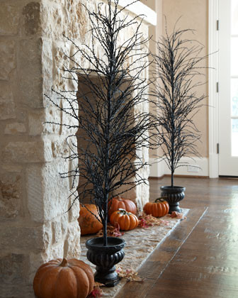 Black Halloween Tree traditional holiday decorations