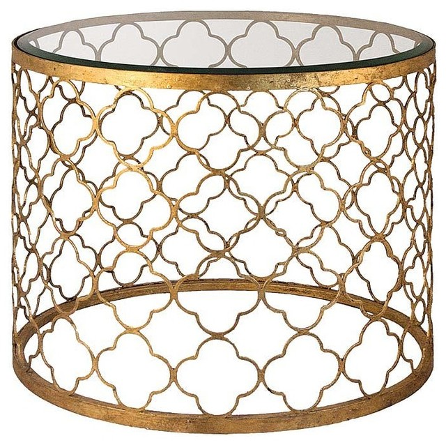 Regina Andrew Gold Leaf Beveled Glass Top Table contemporary-side-tables-and-end-tables