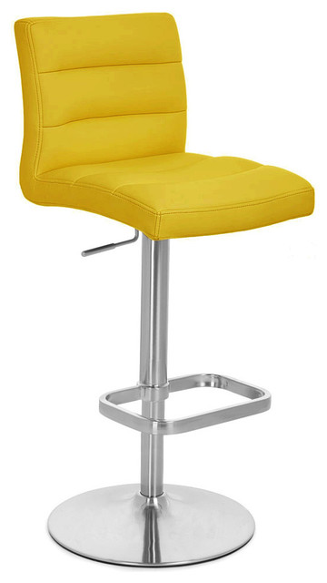 Yellow Lush Adjustable Height Bar Stool Contemporary Bar