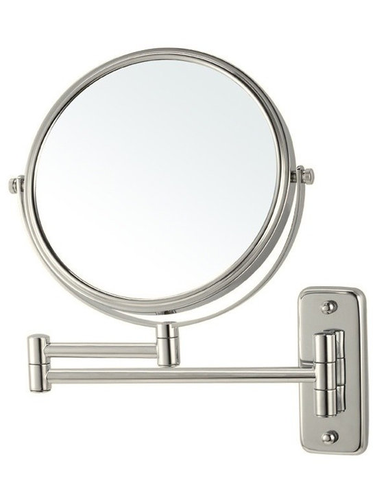 Nameek's - Double Face Wall Mounted Magnifying Mirror, Satin Nickel - This 8 inch wall mounted mirror is a double faced makeup mirror.