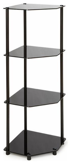 Midnight Classic Black Glass 4-Tier Corner Shelf - Modern - Display And Wall Shelves - by Modern ...