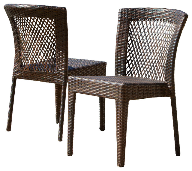 Dana point outdoor wicker chairs set of 2 contemporary for Great deals on outdoor furniture