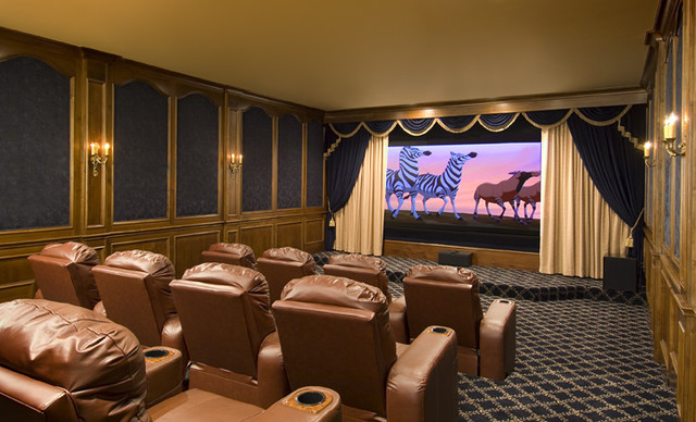 French Elegance in Dallas traditional-home-theater