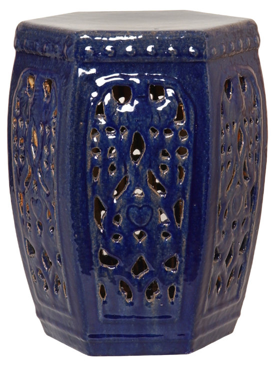Blue Hexagon Garden Stool - The unique hexagonal shape of this garden stool adds an extra special touch that makes it stand apart from the rest. The intricate detail work and rich blue glaze complete this beautiful piece that would be beautiful in any room in your home.
