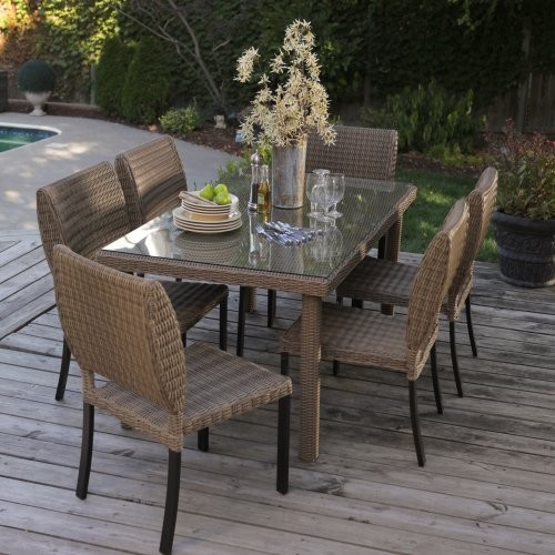 Maya All Weather Wicker Patio Dining Set Seats 6