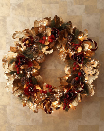 Pre-lit Burgundy & Gold Christmas Wreath traditional-holiday-decorations