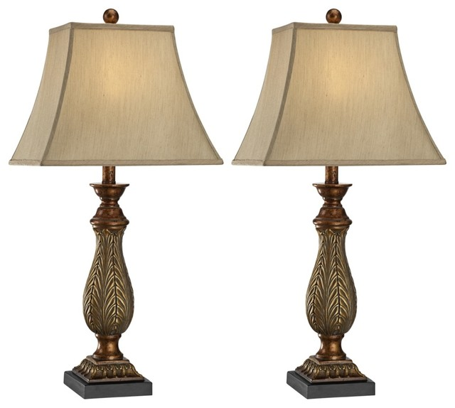 "Traditional Set of 2 Two-Tone Gold 29"" High Traditional Table Lamps traditional-table-lamps"