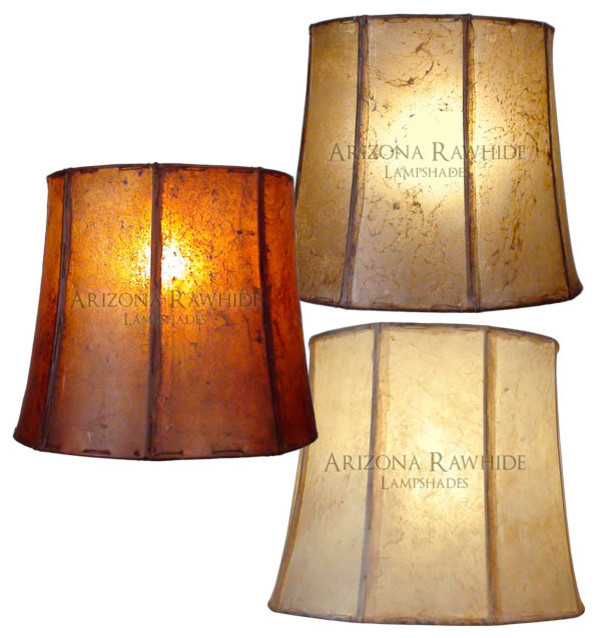 """Rawhide Barrel Lamp Shade - Large Table Lamps Size 14""""H x 16""""W (13""""W Top) traditional-lamp-shades"""
