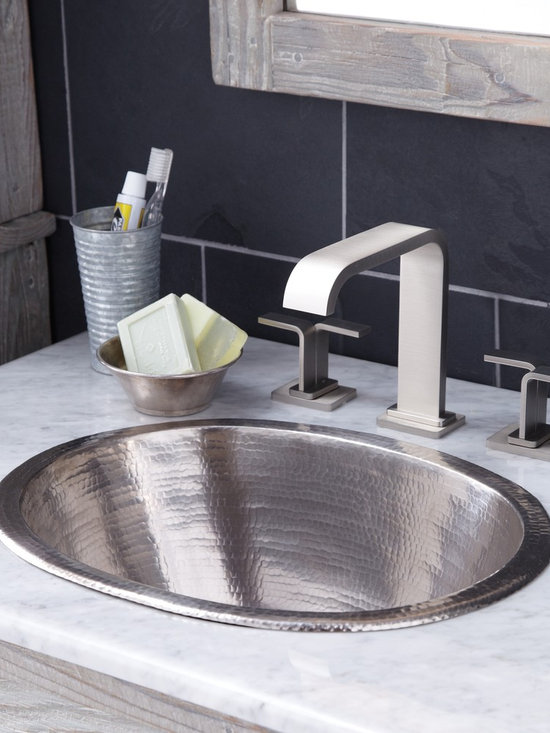 Cameo Copper Bath Sink in Brushed Nickel by Native Trails - A perfect mix of practical and beautiful - that's Cameo. With a generous, deep basin, this versatile bathroom sink can be installed as a copper undermount sink or as a copper drop-in sink - all while showing its lustrous hand hammered copper texture. Cameo was previously called Oval. As with all our sinks, it is artisan-crafted of reclaimed copper, then hand-hammered for its gorgeous texture. Available in Antique, Natural and hand-dipped Brushed Nickel finishes.