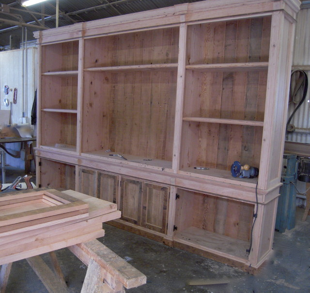 Custom Reclaimed Wood Wall Cabinets eclectic-bookcases