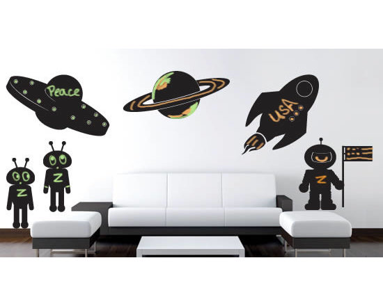 Writable wall decals - Dezign with a Z Space Adventures chalkboard decal pack will rock your toddler's room. This removable sticker pack comes in a pack with 6; 2 aliens, 1 astronaut, 1 alien ship, 1 space ship and 1 planet all in chalkboard material so he/she can give their special touch with chalk. The pack comes in 3 sizes and starting price of $98.