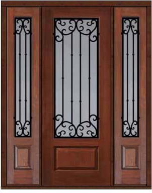 Prehung Sidelights Door 96 Fiberglass Valencia 3 4 Lite Wrought Iron Eclect