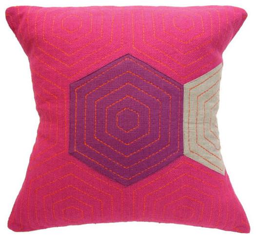 Fuschia Modern Pillows : Provide Made - hex cushion in fuschia