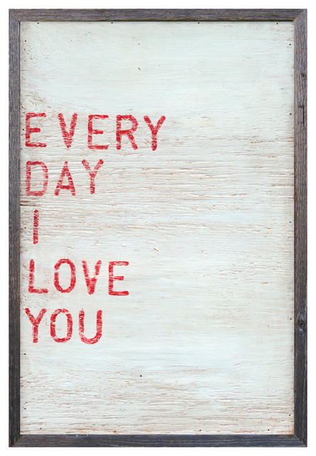 Every Day I Love You' Red Block Reclaimed Wood Wall Art - Large transitional-prints-and-posters