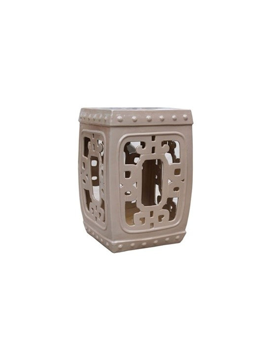 Taupe Square Medallion Garden Stool - Add an exotic flair and rich burst of color to a room with this intriguingly stylish square garden stool. We love how the intricate stoneware design allows the light to pass through for a look that is both substantial but delicate. Use this larger scale stool as a way to add a fun accent color to a room or try it as an unexpected side table.