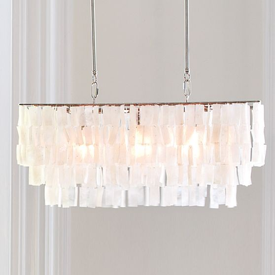 Large Rectangle Hanging Capiz Pendant, White modern pendant lighting
