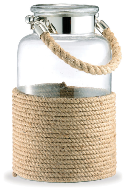Spring Lake Coastal Style Glass and Cord Apothecary Candle Lantern - L ...