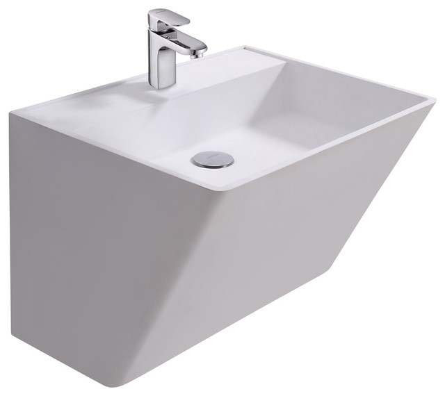 ADM Matte White Wall Hung Stone Resin Sink contemporary-bathroom-sinks