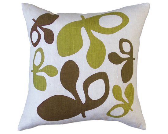 Balanced Design - Hand Printed Linen Pillow - Pods, Green/Chocolate, 16 x 16 - -Graphic, modern patterns -Hand printed in Rhode Island, on 100% soft white linen -Eco-friendly inserts (50% regenerated fiber made from recycled plastic bottles, 50% 95/5 feather)  -Zipper closure  -Wash in cold water, line dry.  -Sewn in Massachusetts  -Imported Fabric